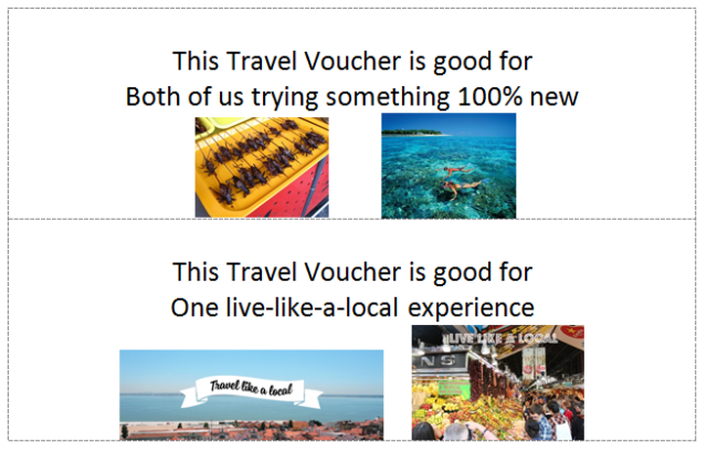 Travel Vouchers (try new, local)